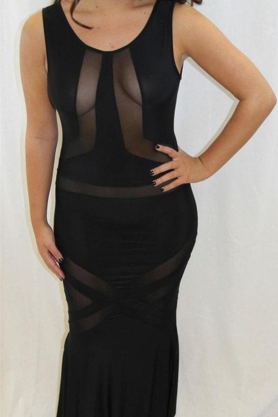Vintage black mesh maxi dress