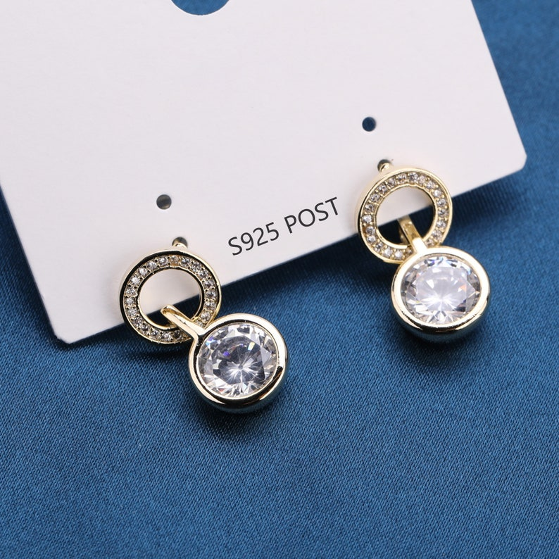 Round Dangle CZ Micro Pave Fashion Dangle Stud Earring Hoop Earrings with 925 Sterling Silver Post for Anniversary Birthday Gift