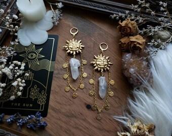 Blue Sun Goddess Earrings,