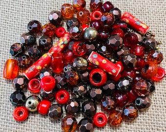 Vintage Jewelry Supplies Vintage Glass Beads Random Mixed Lot 100 pcs