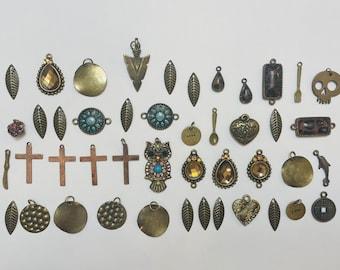 Lot Of Small Bronze Tone Charms/Pendants