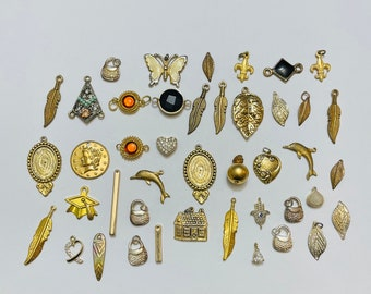 Lot Of Small Gold Tone Pendants/Charms (Mix)