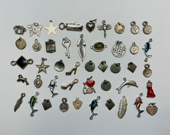 Lot Of Small Silver Tone Pendants/Charms (Mix)