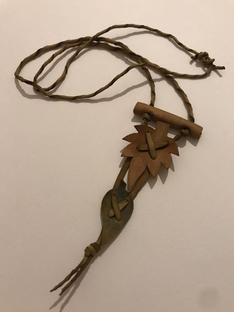 leather leaves Leather Leaf Necklace Bohemian Necklace leather accessory Gift Ideas Boho Chic