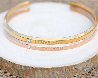 Personalized Gifts Follow your dream MOONOstore Jewelry for Women Custom Bangle for Her Cuff bracelets for Graduation Wedding Birthday