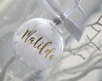 Christmas Tree Wedding Holiday Festive Winter Wonderland Gift Clear Glass White Bauble with Star Shape Cut Out /& Filled With Wooden Pieces