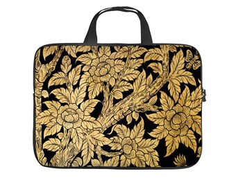 Linomo Computer Bag Sunflower Floral Flower Laptop Sleeve Case Briefcase Messenger Sleeve Laptop Shoulder Bag fits 13 Inch 14 Inch 14.5 Inch Laptop for Women Men Office Kids School