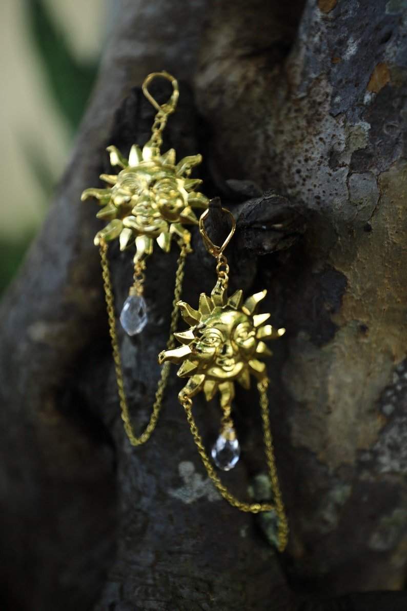 Witchy Sun and crystal  Earnings with tiny bells