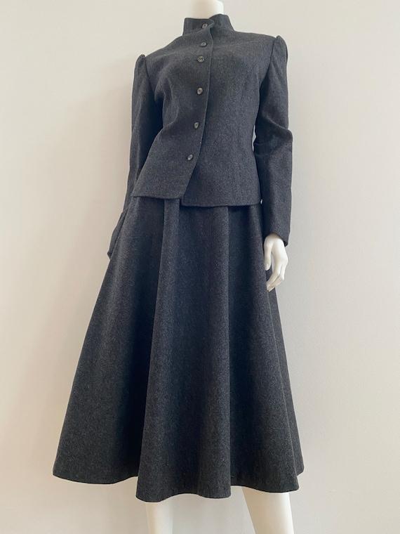 VTG 80s Wool Puff Sleeve 2 Piece Skirt Skirt Suit