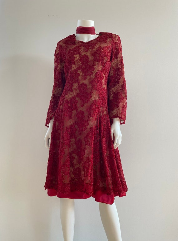 VTG 50s Red Tulle Lace Full Skirt Couture Dress
