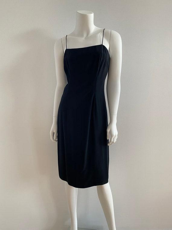 VTG 80s Silk Slip Dress Minimal Black