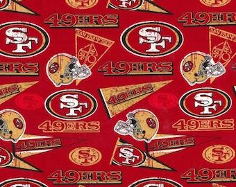 San Francisco 49ers Fabric|100% Cotton Fabric|FAST Shipping|7x9 Pre Cut Fabric|Nfl Fabric|49ers Retro Fabric|Mask Cut|DIY Craft|