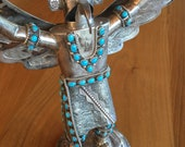 Museum Quality Daniel Etsitty Sterling Silver and Turquoise Kachina Doll 651 Grams