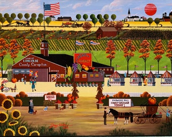 ORIGINAL acrylic painting primitive folk art — Land of Lincoln County Co-op by Jerry Winters
