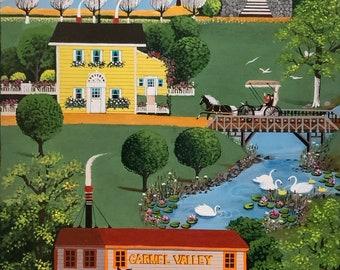 ORIGINAL acrylic painting primitive folk art — Carmel Valley Mercantile by Jerry Winters