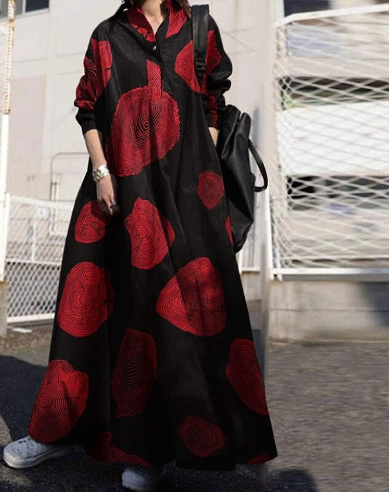 2021 Vintage Button Shirt Dress Women/'s Autumn Sundress Long Sleeve Maxi Vestido Female Casual Bagyy Robe Femme Plus Size