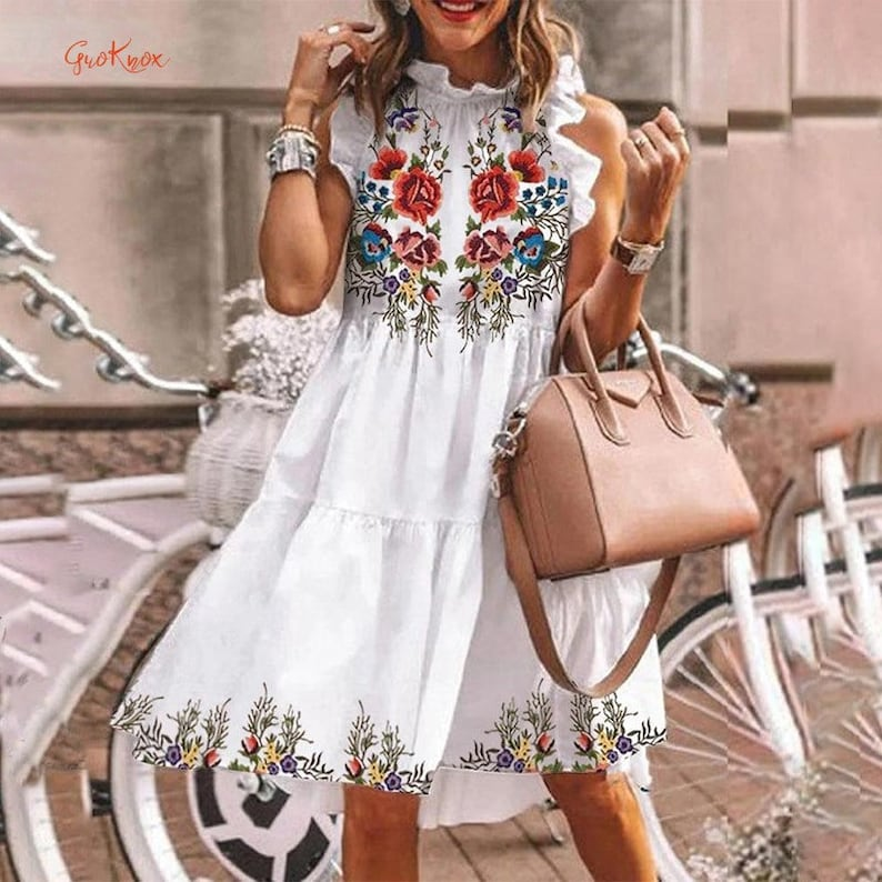 Butterfly Sleeve Casual Ruffled Neck A-line Dresses Female 2021 Vacation Floral Printed Dress Summer Elegant Short Women Dresses