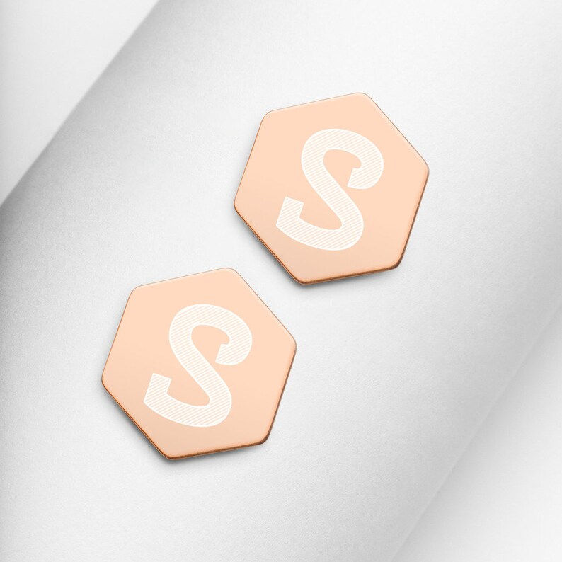 Customized gifts Personalized Initial Earrings engraved Sterling Silver Hexagon Stud Earrings