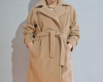 Vintage Camel Hooded Coat with Retro Stripe