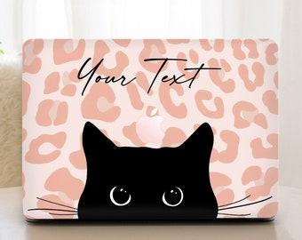 Custom Macbook Pro 13 Case Black Cat Macbook Air 13 Case Pink Leopard Macbook Case Cute Kitty Macbook Pro 16 inch case MacPro Retina 15 Case