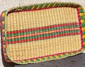 Wicker Tray. Wicker Basket. Handwoven Tray. Handwoven Basket. Rattan Tray. Basket Tray. Yellow. Green. Red. Southwestern Tray. Wicker Decor.