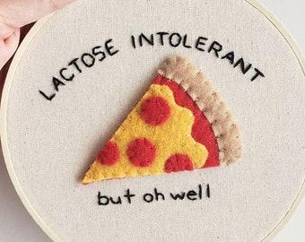 Hand Embroidered Pizza Slice Hoop Art