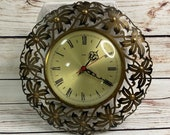 Mid Century Bronze Starburst Metamec Wall Clock