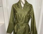 1973 Australian Army Issue Vietnam War Raincoat Rain Coat Vintage Army Green with belt