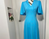 1970's Disco Fever Floor length gown frock dress  Blue and slinky sexy