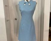Pale blue Crimplene mini dress 1960s mod frock above knee passive aggressive washing directions!