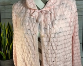 Soft pink Vintage bed jacket brunch coat gown intricate pattern knitted