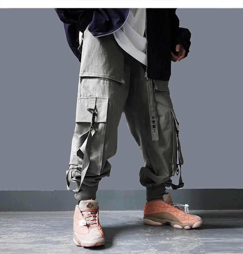 Multi Pockets Cargo Pants Mens Harajuku Casual Streetwear Ribbons Hip Hop Joggers Male Elastic Waist Sweatpants