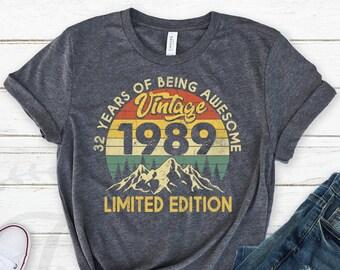 Vintage 1989 Shirt, 1989 Shirt, 32nd Birthday Shirt, 32nd Birthday Gift, 32nd Birthday Gifts for Men, 32nd Birthday Gifts for Women