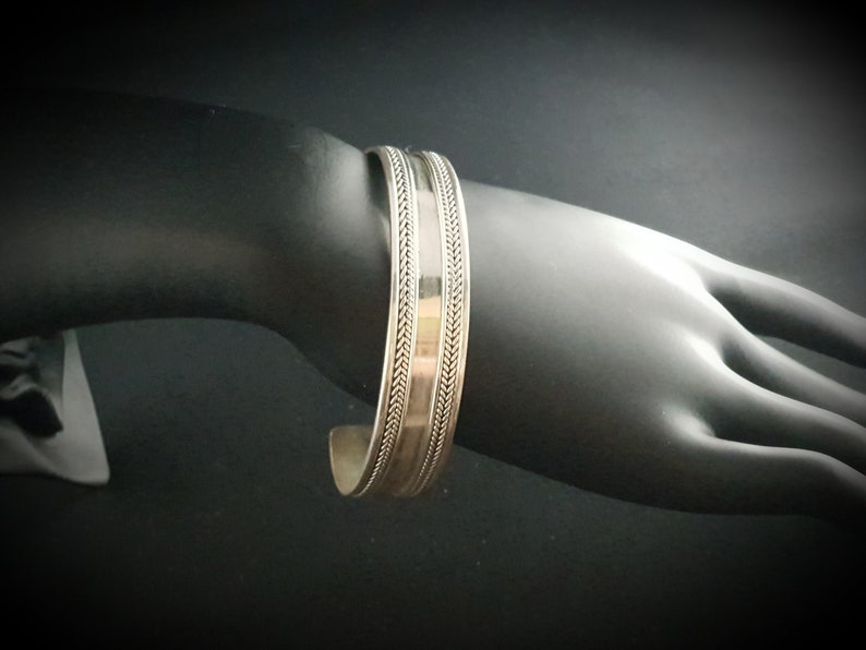 Adjustable Braided Handmade Unisex Cuff  Bangle  Wristlet Bracelet  Wristband in Genuine 925 Sterling Silver