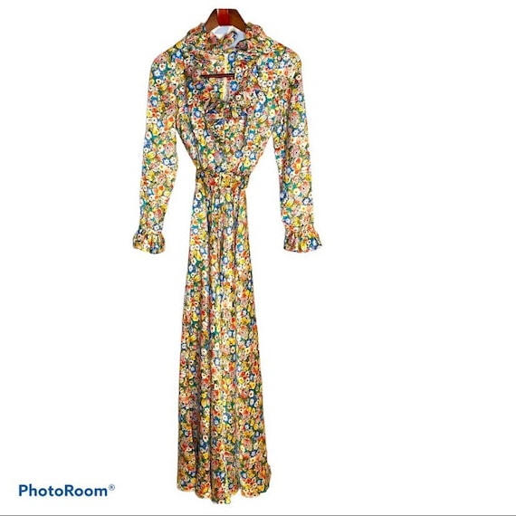 Vintage Neiman Marcus Long Floral Silk Circle Skir