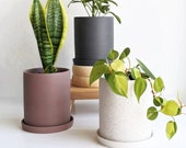 Modern Unglazed Ceramic 5 inch Planter in Speckled White, Taupe and Charcoal Grey, for Indoor and Outdoor Succulents and House Plants