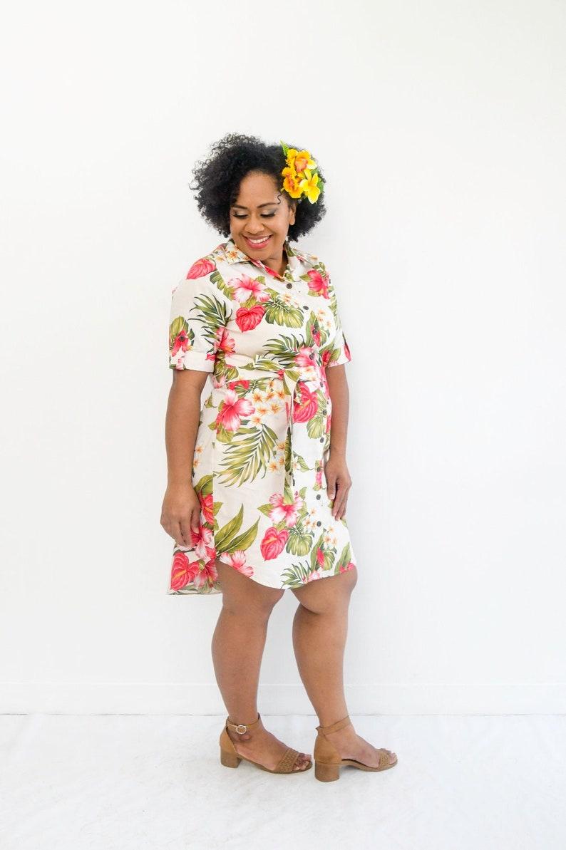 Hibiscus print summer dress Sits above the knee. Hawaiian Dress Made in Fiji Malia Clothing Shirt Dress