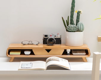 Bamboo Monitor Stand Riser, Wood Monitor Stand,No Assembly Required Exquisite Monitor Stand with Drawer