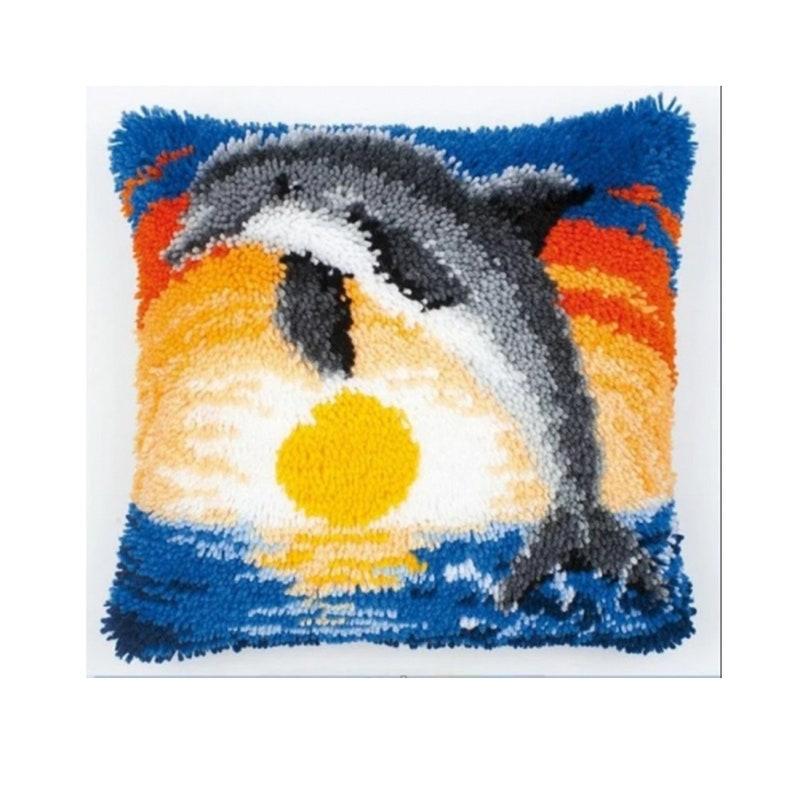 Dolphin Hook pillow Set Handmade Crafts Embroidery kitDIY image 0