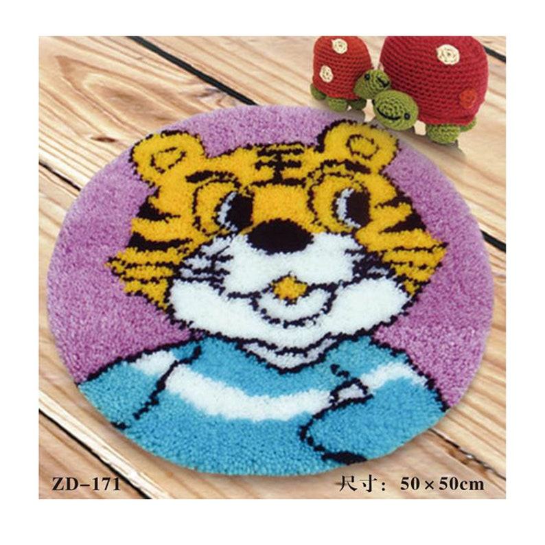 Tiger Carpet Set Handmade Crafts Embroidery DIY Crochet image 0