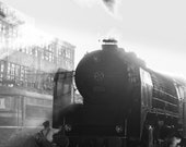 Restored Steam Locomotive 01.23 is in a Locomotive Depot in Service. Fine Art. Black and White Photography. Train Gift. Wall Decoration.