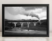 Wall Decor by HAHNEMUHLE on a Steam Train. A Steam Locomotive With Authentic Retro Wagons Runs on an Old Bridge With Arches.