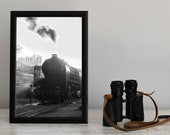 Wall Decor from HAHNEMUHLE on а steam locomotive. Restored Steam Engine in a Locomotive Depot. Fine Art with machinist is a great Gift.