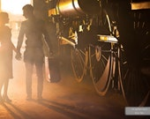 A Girl Sends Her Boy on Journey. Beautiful Light Paints Their Silhouettes. Romance. Love. Train Gift. Wall Decoration. Ready for Download.