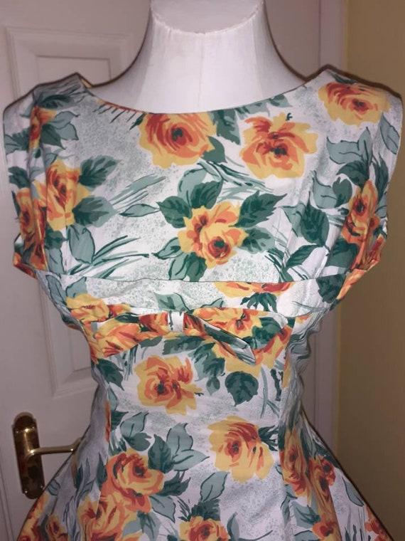 50s cotton dress / floral - image 2