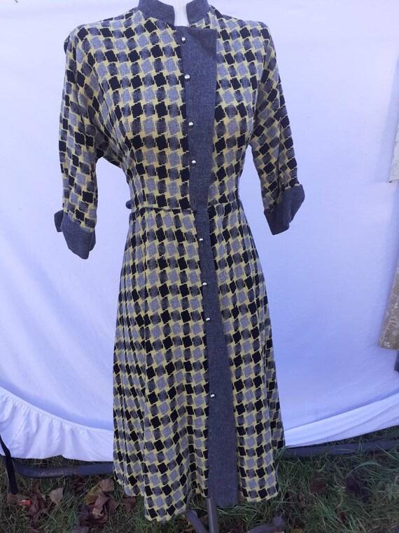 1950s plaid wool dress