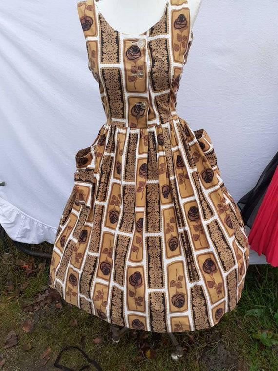 1950s rose print dress