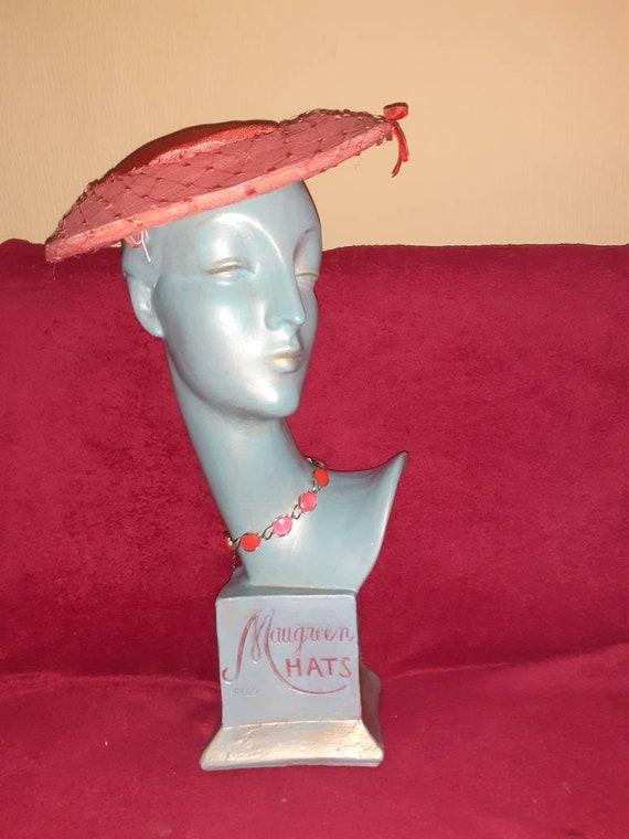 1950s orange platter hat