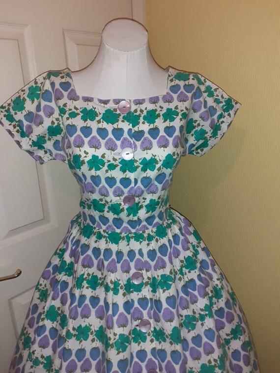 1950s cotton dress / novelty