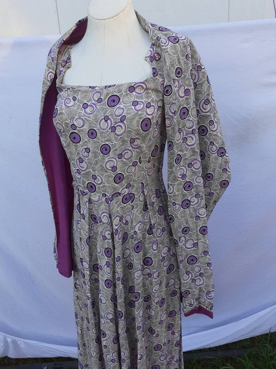 1940s cold rayon dress and shawl